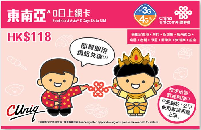 China Unicom 東南アジア周遊データ通信SIMカード